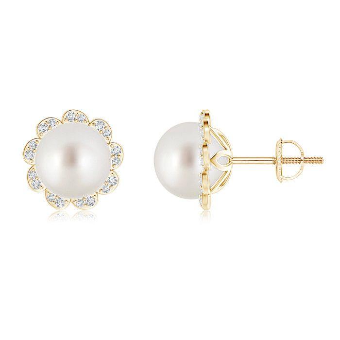 Angara South Sea Cultured Pearl Knot Earrings with Diamonds gE1c3TOeu