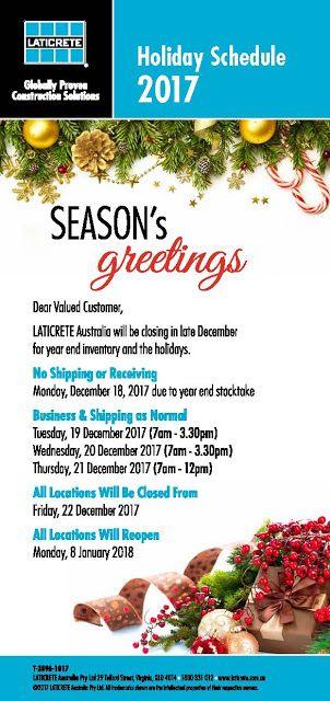 Laticrete Australia Conversations: LATICRETE Australia Holiday Schedule