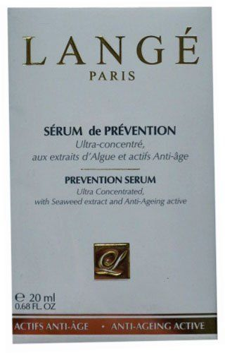 Lange Paris Prevention Serum 20 ml / .68 fl oz by Lange Paris. $25.00. Protects against environmental aggressors. Promotes elasticity and firmness for a youthful complexion. Ultra Concentrated with Seaweed extract and Anti-Ageing Active. Restructures and Regenerates, for a lasting hydration. Lange Prevention Serum is a powerful anti-ageing treatment & an integral part in maintaining the youthful appearance of the skin.  Specially formulated with moisturizing & anti-oxidiz...