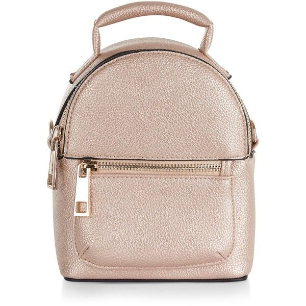 New Look Rose Gold Metallic Mini Backpack ($21) ❤ liked on Polyvore featuring bags, backpacks, gunmetal, mini backpack, pocket backpack, day pack backpack, handle bag and new look backpack