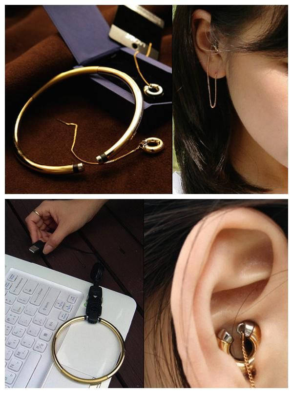 MP3 Player and Earring Buds. Listening to music in public has never been so elegant (or discreet) than with this gold set by designer Lee Won-Jun.  The earrings double as glam earbuds while the matching bangle bracelet reveals itself to be an MP3 player that syncs with your computer. If this design were to go into production at any forward-thinking jewelry company, it would quickly find its way onto many a tech-savvy fashionista's wish list.