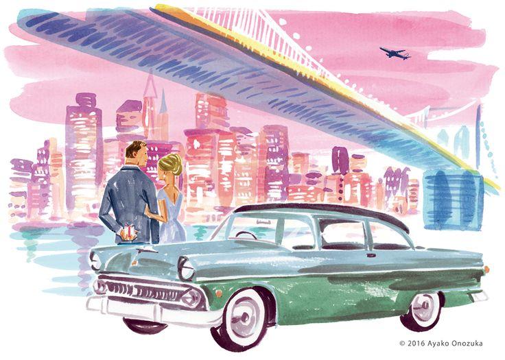 ayako onozuka #illustration #Fashion #Watercolor #イラストレーション #女性 #Woman #Man #car #小野塚綾子