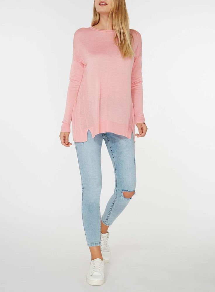 Womens Pink Side Split Jumper- Pink