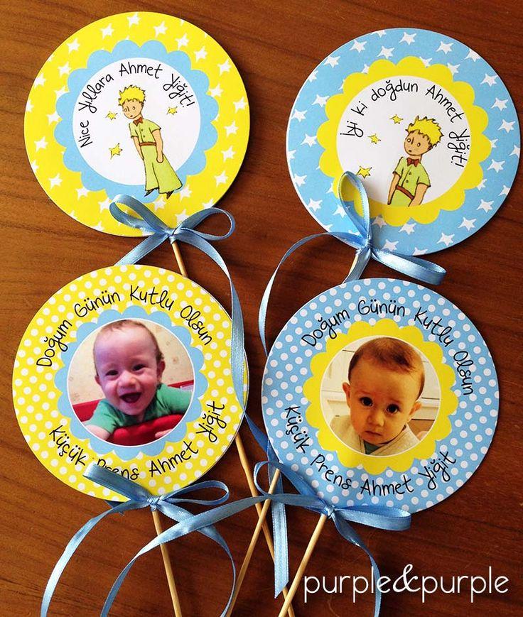 Parti Çubukları | Küçük Prens | Doğum Günü Kitap Ayracı | 1 yaş doğum günü hediyelikleri | 1 yaş parti süsleri | Küçük Prens (Le Petit Prince) temalı Parti | Le Petit Prince Birthday | Book Themed Parties | Le Petit Prince Themed Party | Party Signs