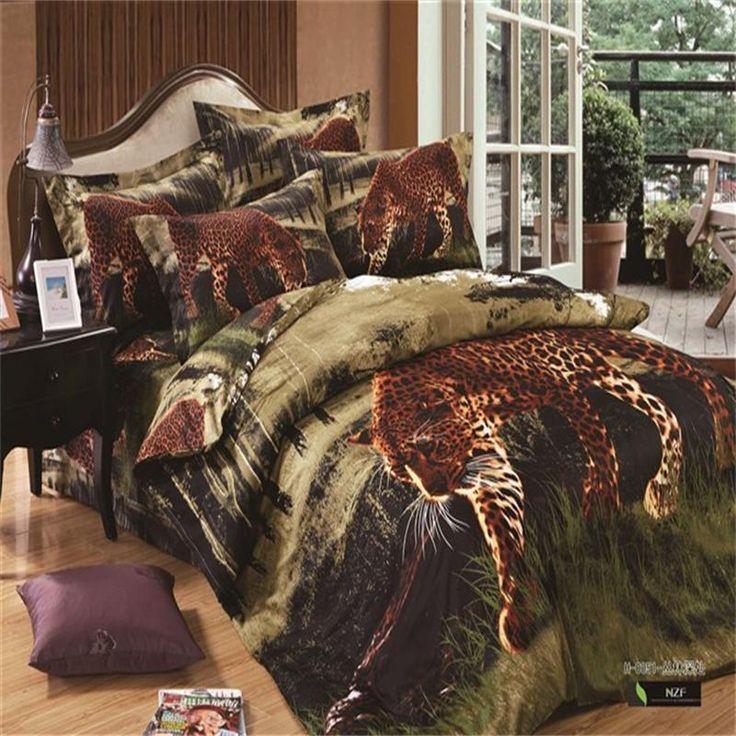 Pas cher 3D imprimé léopard ensemble de literie pour Full / Queen Size bed, Unique Jungle animaux Cheetah 100% coton taie d'oreiller de draps de couverture de couette, Acheter  Ensemble de literie de qualité directement des fournisseurs de Chine:                                       N                             O couette dans la housse de couette.