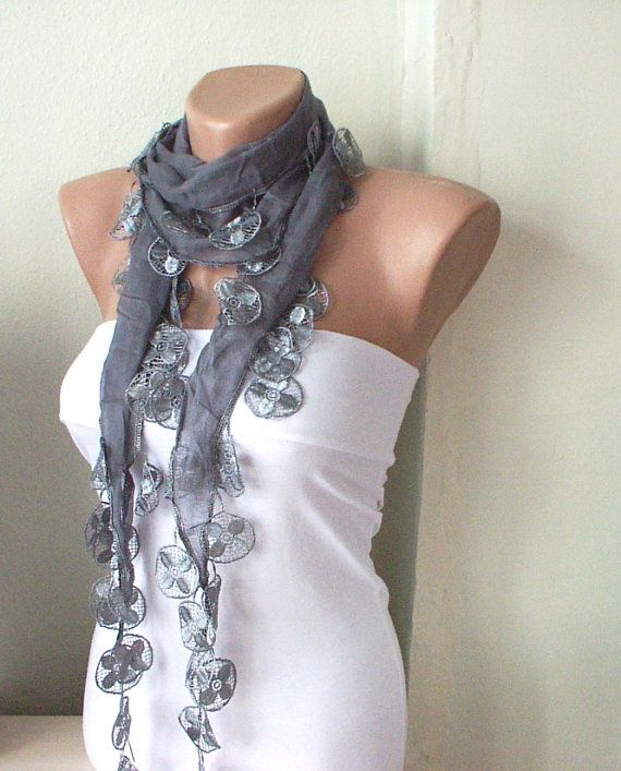 Super cute.: Summer Scarves, Cotton Scarfs, Lace Scarf, Blue Scarves, Grey Scarfs, Cute Scarfs, Scarfs Style, Film Music Books, Summer Time