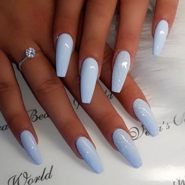 Summer Nail Designs 2019 Los 15 Mejores Colores Y Tendencias Para Las Unas De Verano Nail Detect In 2020 Coffin Shape Nails Blue Acrylic Nails Coffin Nails Long