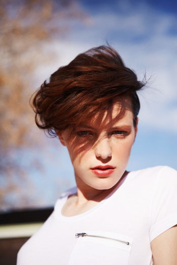 Erika Linder for FOAM Magazine. Photo by Kat Borchart. Makeup by Christina Guerra. Sunkissed skin, peach lips, short hair, androgynous