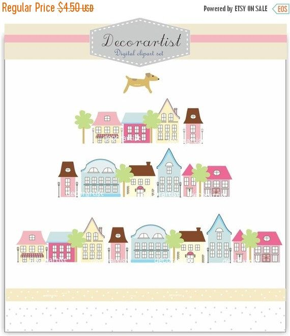 Verkauf Häuser ClipArt sofortige Download von Decorartistclipart