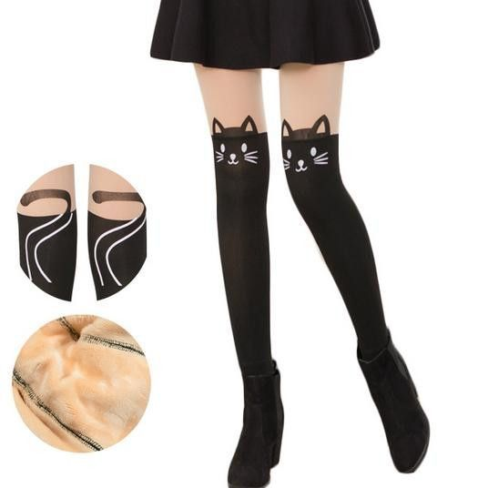 5b2b5a9ef4d Kitty Fake Over Knee Thigh High Fleece Footless Tights SP153986 ...