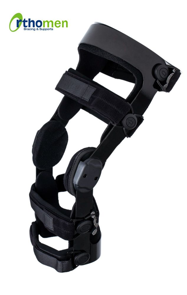 Orthomen Functional ACL Knee Brace (Right)--Indications: ? Knee instability due to anterior and/or posterior cruciate ligament ( ACL/PCL/LCL injuries ) ? To restrict the range of motion after reconstructive surgery ? Recommended for low to medium impact sports
