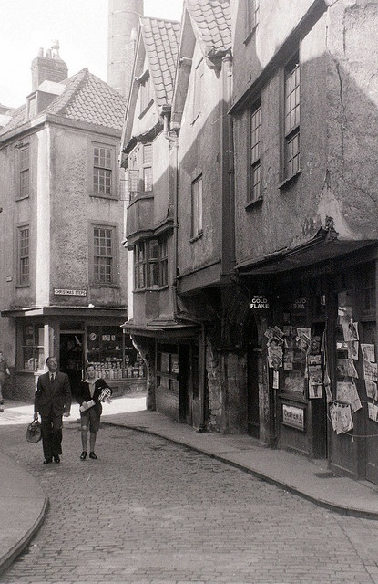 Near Christmas Steps, Bristol, 30 July 1958 by allhails, via Flickr     There was a very old fish and chip shop on the corner, wonder if it's still there.