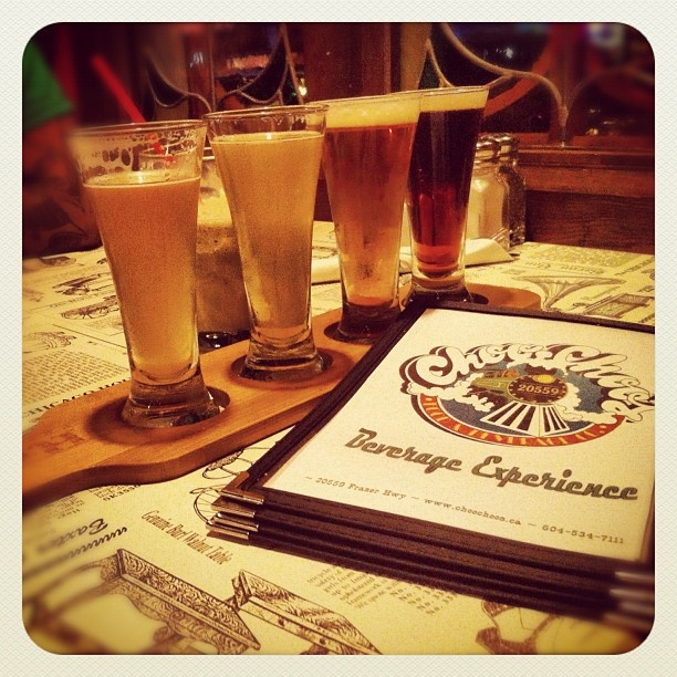 Beer paddle time at #choochoos! #beer #craftbeer #russellbrewingcompany #howesoundbrewingcompany #beerpaddle #craftbeerbc #langley #langleybc #tourismlangley - @desi_rawr- #webstagram