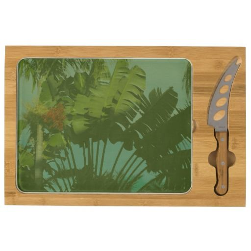 Faux Vintage Tropical Fabric, cheese board with knife