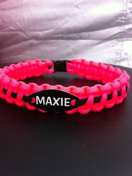 Paracord Dog Collar with name tag attached by CJWOODCRAFTS on Etsy, $11.00