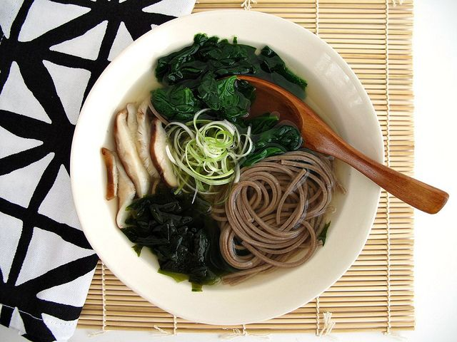 Soba Noodle Soup with Spinach and Shiitakes