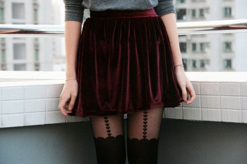 Burgundy Velvet Skirt Handmade style fashion burgundy