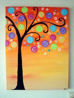 "original painting -""sunrise of circles."" so great."