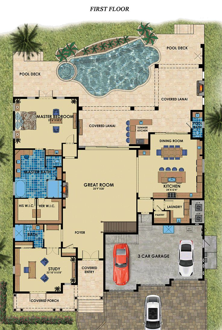 Mediterranean House Plans 5 bedroom 4 bath mediterranean house plan alp 0185 allplanscom Florida Mediterranean House Plan 71538