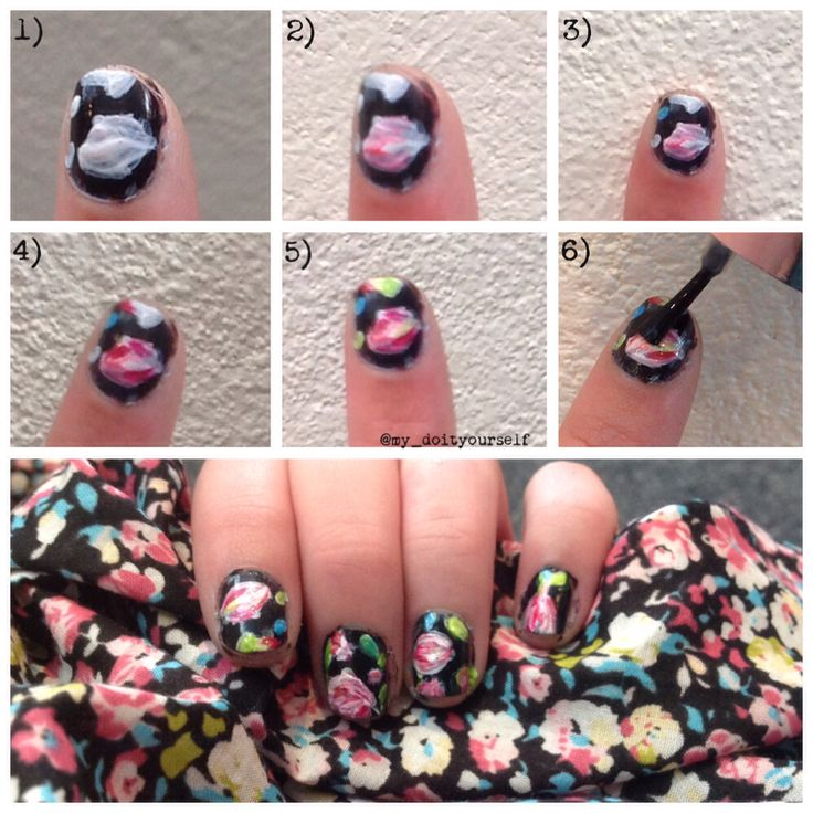 ···DIY nail art tutorial!! Painted nails to look like my dress!!!···