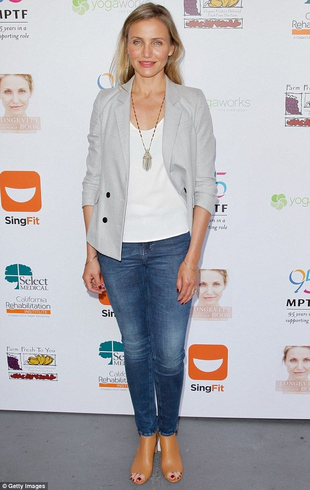 Glowing: Cameron Diaz showed off her radiant complexion and fit physique at the MPTF Celebration For Health And Fitness in Woodland Hills, California, on Friday