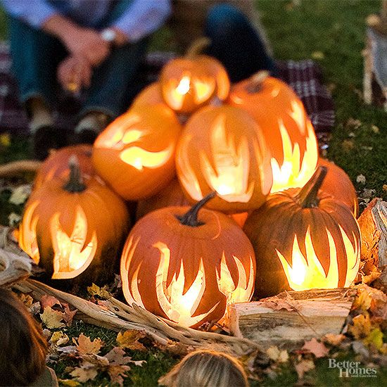 Set your pumpkins on fire with this cool pumpkin decorating idea.