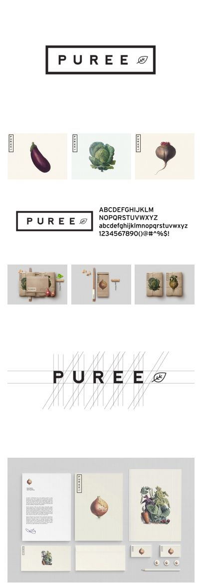 Brand identity for Puree, (Montreal, Canada) an organic medicinal vegetable garden where consumers can have access to naturally farmed food located in local neighborhoods Created by Studioahamed.