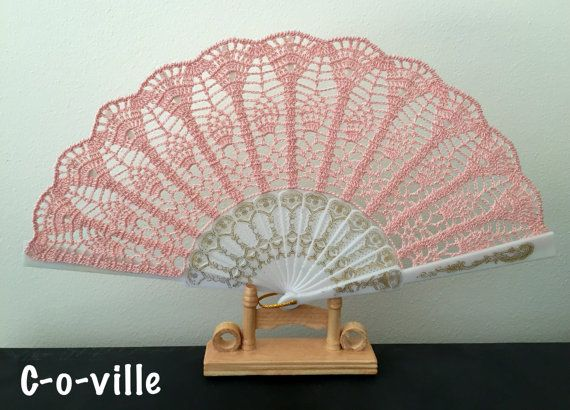 Wedding folding HAND FAN in Light Pink, Peach, Feng Shui Gift, Wedding Accessory, Lolita, Bride Bouquet, Photo prop, Made in America