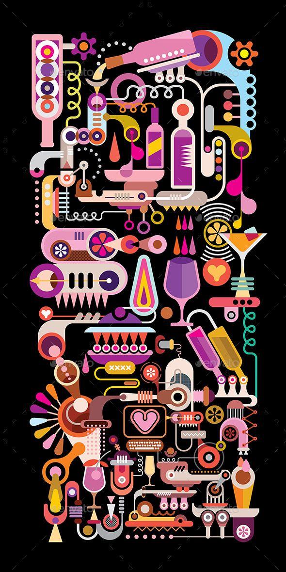 Cocktail Machine Vector Illustration