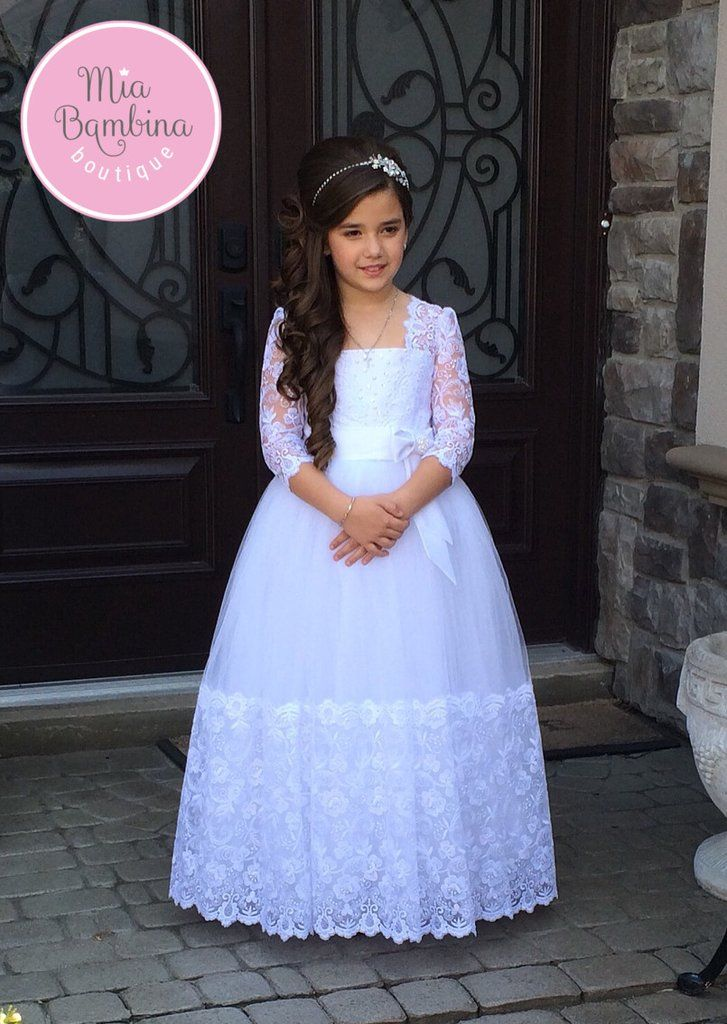 Buy Carina - First Communion Dress with Lace Hem and Long Lace Sleeves