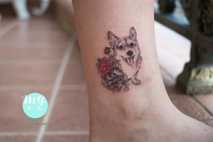 Corgi with sketches and watercolour tattoo:)