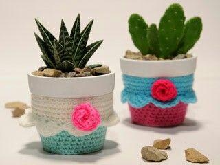 Macetas vestidas con Crochet