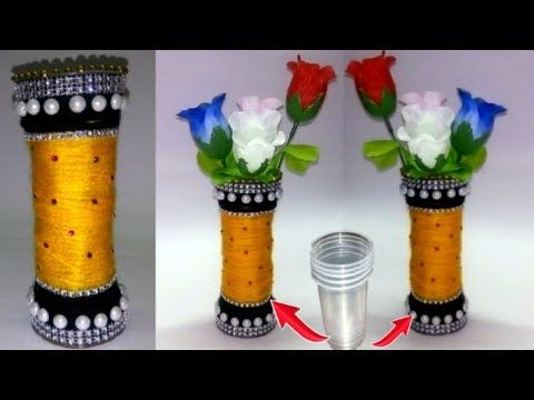 Pinterest & DIY - Flower vase made with disposable plastic glass - Crafts using ...
