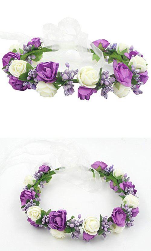 Artificial Craft Headband Wreath Hawaii Beach Flower Girls Halo Circlet Hippy Hair Band Pieces Accessories Rustic Basket Girl Headpiece (Purple)