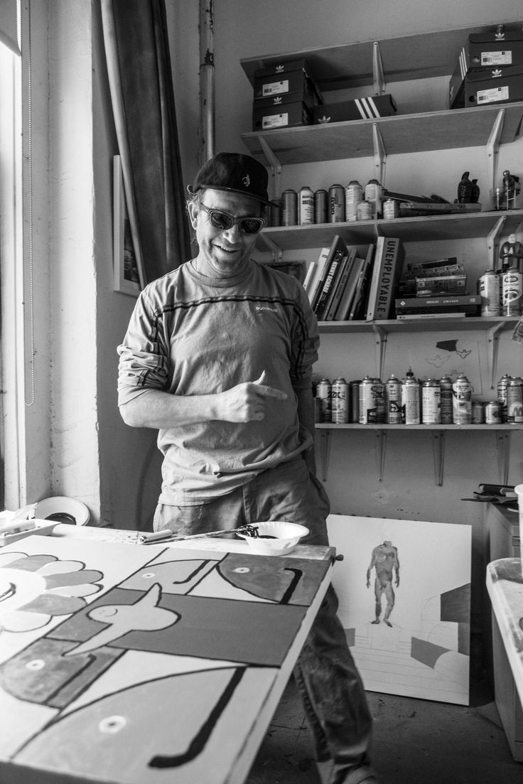 """When I meet Mark Gonzales at his studio on Canal Street in Chinatown he's painting. He has a show opening at HVW8 in Los Angeles in two days. Fifty paintings have already been shipped across the country, and the final few are being finished now before Mark, his wife, and their 3-year-old daughter fly out the following morning.  That's a lot of paintings. """"Yeah,"""" he says as he sketches in pencil the outline of smiling cartoon blocks, """"I hope they hang them all.""""  It's a bright and warm spring…"""