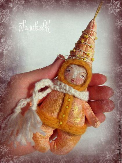 Желточек - жёлтый,елочная игрушка,игрушка на елку,куклы и игрушки,подарок на новый год