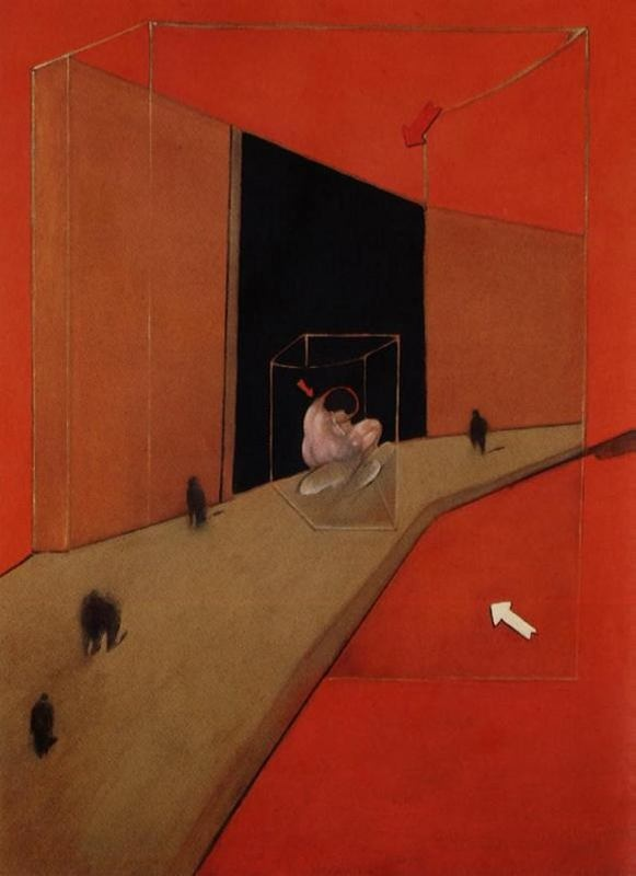 Francis Bacon, Figures in a street (1983).
