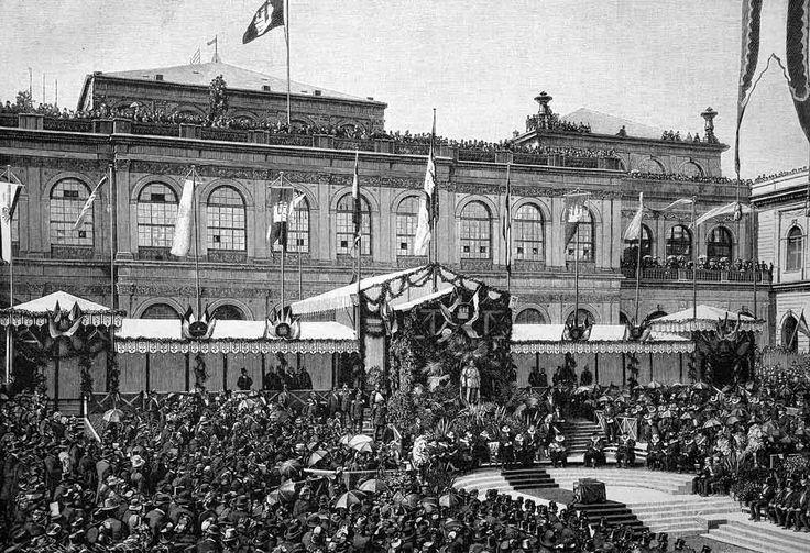 Die Grundsteinlegung des neuen Rathauses am 6.5.1886 in Hamburg. Historischer Holzstich. Offiziell eröffnet wurde das Gebäude im Jahr 1897.