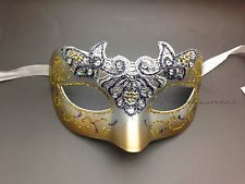 Lace Venetian Masquerade Mask Costume Silver & Gold With Rhinestones