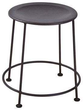 Iron Stool Zinc Finish - industrial - Ottomans And Cubes - C.G. Sparks