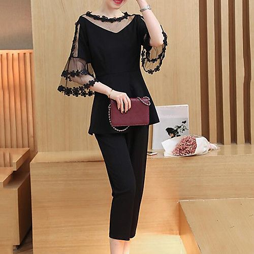 Women's Spring Summer Blouse Pant Suits Round Neck 1/2 Length Sleeve Polyster 2017 - $21.59