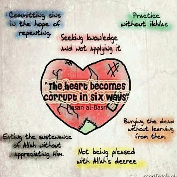"""The heart becomes corrupt in six ways..."""