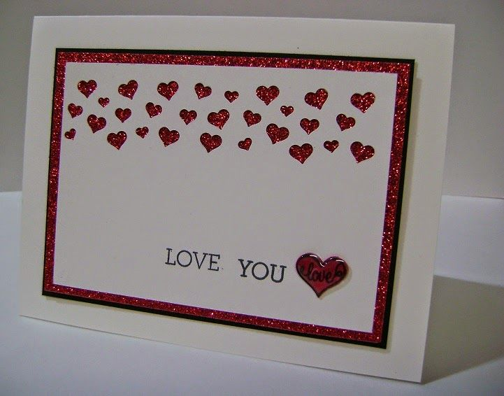 Card Making Ideas For Valentines Day Part - 37: Crazy About You, Confetti Heart Border Punch, Red Glimmer Paper, And Itty  Bitty Epoxy Sticker - CAS Valentineu0027s Day Card