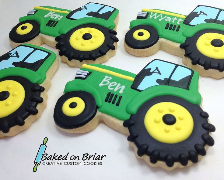 Tractor Cookies. Cute for a young boys afternoon tea party, or a man's afternoon tea (my dad would love these) or hen party if marrying a farmer
