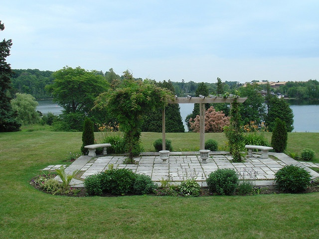Eaton Hall back yard patio, formerly a little pond overlooking the lake.  Was filled in to be a patio in the 70's
