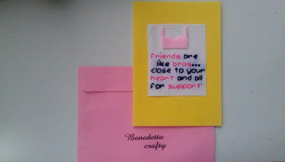 Friendship CardThinking of You card Bra by benedettacraftyshop, $5.00 #friendship #bra #thinkingof you #friendshipcard #greetingcard #notes #blankcard #thankyoucard #thankyou #messagecard #friends #love
