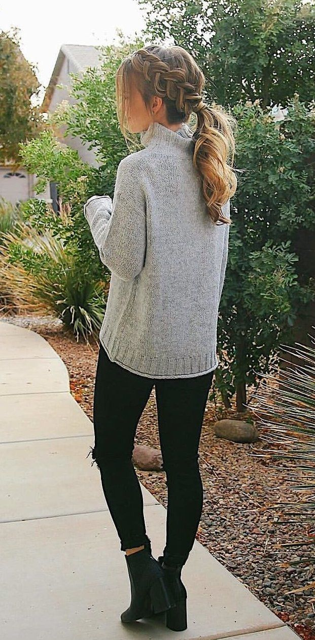 #fall #outfits gray sweater. Click To Shop This Look.