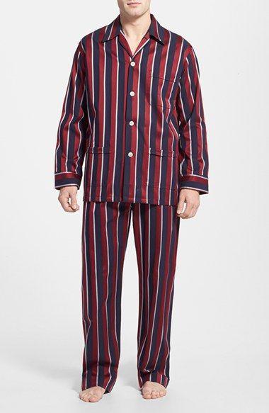 Derek Rose 'Regimental' Cotton Stripe Pajamas