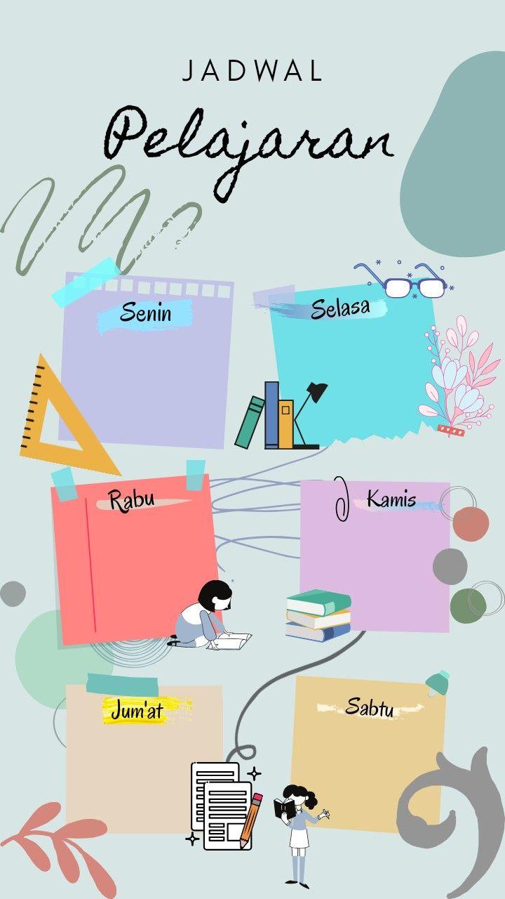 wallpaper mapel jadwal pelajaran aesthetic template