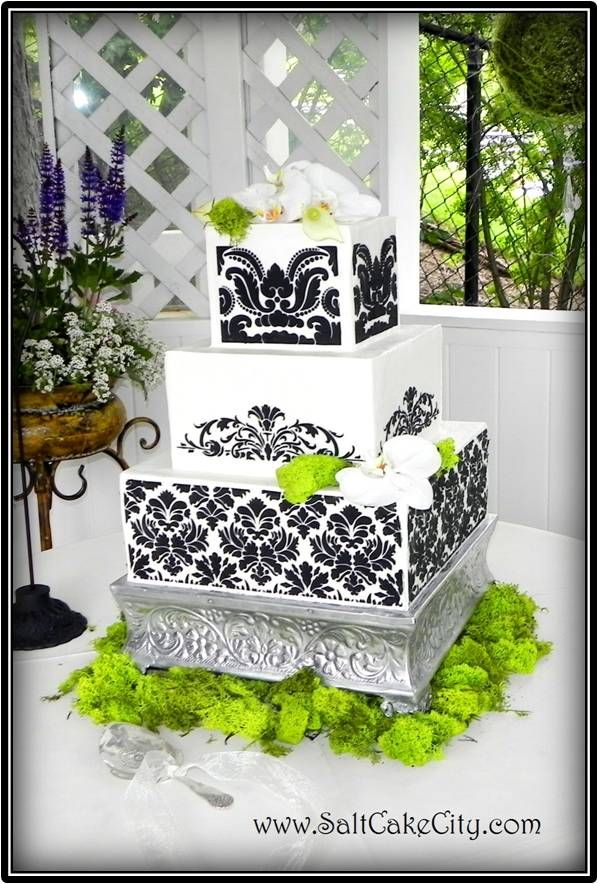 Black White Damask With Lime Green Flowers